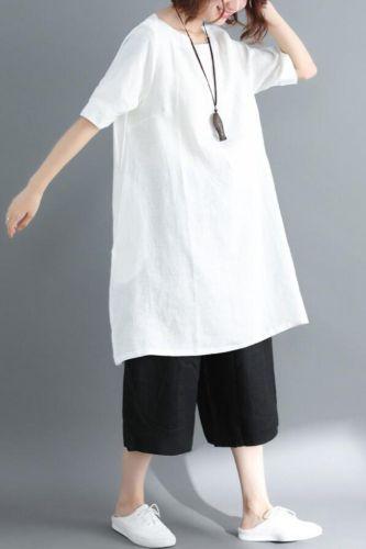 2021 summer white Casual Large size L-XXL Tops Tees women purple Cotton Loose T-shirt fashion Linen O-Neck Tops T-shirt women