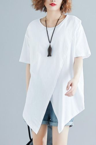 Plus Size Women T-Shirt 2021 Summer Oversize Basic Short Sleeve Cotton O-Neck Irregular Patchwork Black White Loose Tops Female