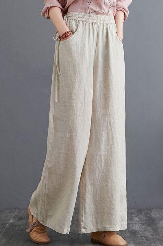 Women Autumn Casual Wide Leg Pants New 2021 Vintage Style Elastic Waist Loose Comfortable Female Cotton Linen Trousers S1505