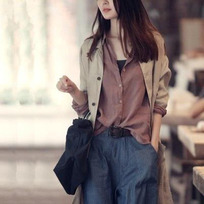 Autumn New Bottoming Women'S Leisure Long Sleeve Loose Cotton Hemp Top Shirt Women'S Korean Blouse