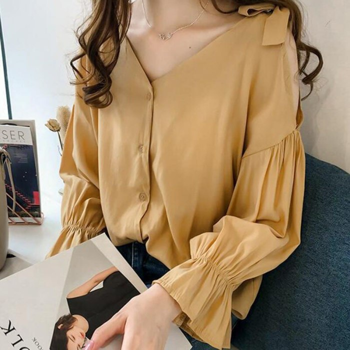 Spring New Women V Neck Long Sleeve Blouse Off Shoulder Tops Women Autumn Elegant Office Shirt