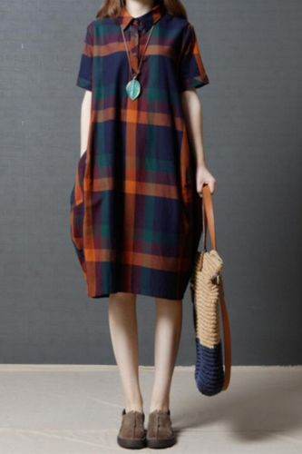 Large size women's 2021 summer new checkered linen dress women's loose-sleeved retro mid-length cotton linen dress