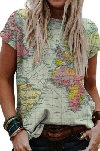 Spring Summer New Women T-shirts 2021 Retro Print Casual Top Tee Short Sleeve Femme Tshirt Clothes