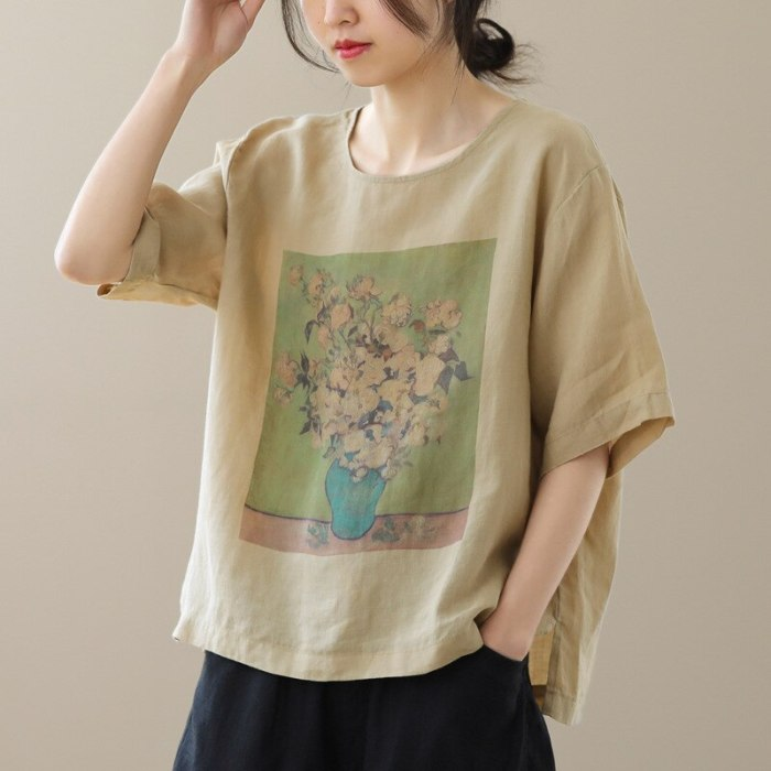 Women T-shirt 2021 Summer Loose Casual Retro Tops Women New O-Neck Short Sleeve Print Cotton and Linen T-shirt Tops