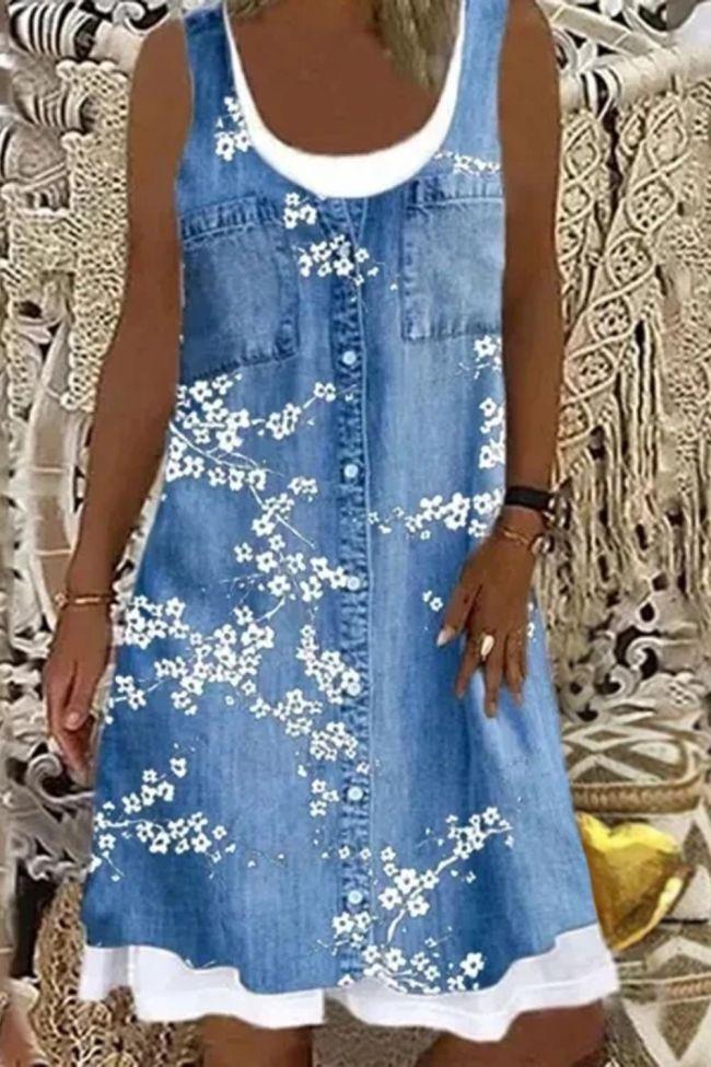 Vintage Imitation Denim Floral Print Women Dress 2021 New Summer Sleeveless Casual Beach Loose Dress Vestidos De Festa