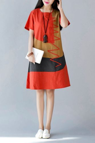 2021 Summer New National Style Large Size Women'S Loose Section Comfortable Linen Cotton Short-Sleeved Stitching Dress Female