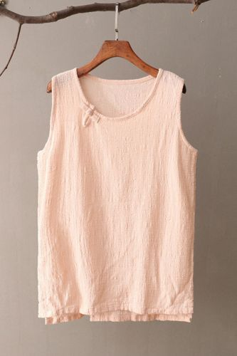 Solid Sleeveless Women Tank Top Loose Casual O-neck Summer Tank top Women Cotton Linen Cute Chinese style Tanks Shirt Tops C141