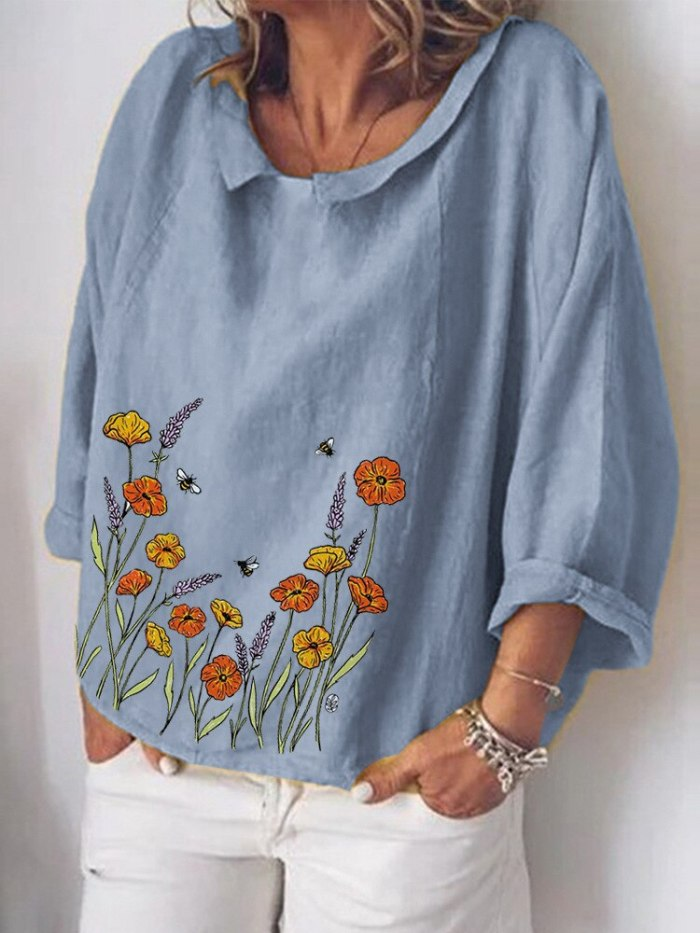 New 2021 Summer Retro Fashion Women's Loose Cotton and Linen Printed Long Sleeve Tops Femme Plus Size Chemise Longue