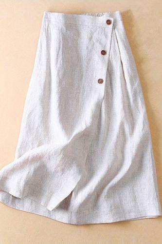 Casual Breathable Summer Skirts Women Casual A Line Skirt Cotton Linen Midi Elastic High Waist Large Swing Skirt K1386