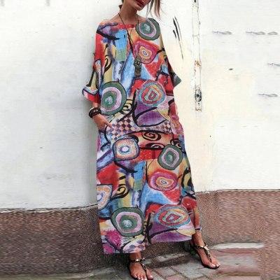 New Bohemia Women Floral Printed O Neck Long Sleeve Loose Casual Tunic Maxi Dress летние платья бохо