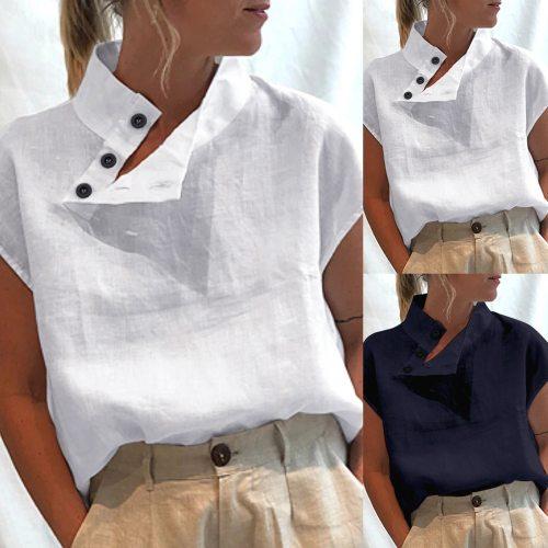 Elegant Fashion Buttons Blouse Shirt Skew Collar Tops Tee Summer Casual Ladies Tops Female Women Short Sleeve Blusas Pullover