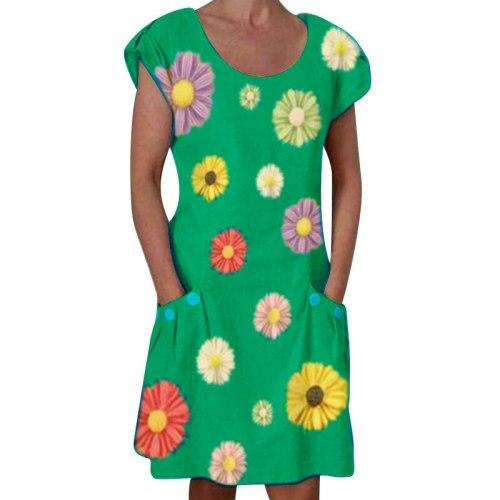 New Vintage Floral Print Dress Summer Short Sleeve Pockets Slim Women's Dress Casual Streetwear Beach Ladies Party Midi Dresses