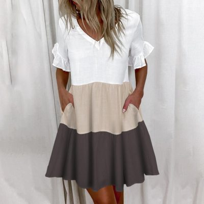 Casual Ruffles Loose V-Neck Dress Women Summer Short Sleeve Floral Print Woman Dress Plus Size 2021 Fashion White Beach Dresses