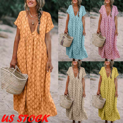 Womens Boho Deep V Neck Polka Dots Floral Print Baggy Tunic Long Pleated Dress Loose Summer Beach Holiday Sundress 2021