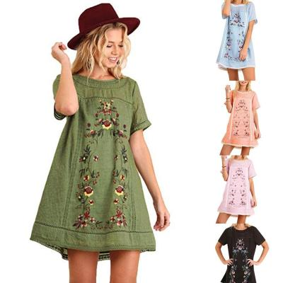 2021 Fashion printed Casual DressWomen Mexican Ethnic Embroidered Hippie Blouse Gypsy Boho Mini Dress Hot sale BD
