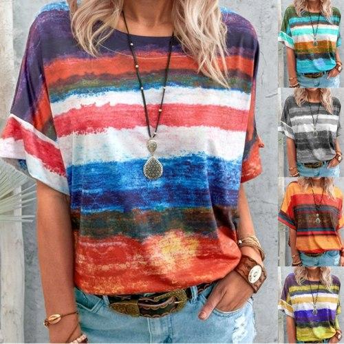New Women's T-shirts Rainbow Gradient Short Sleeve Loose Pullovers Women Elegant Round Neck Vintage Stripe Print Streetwear