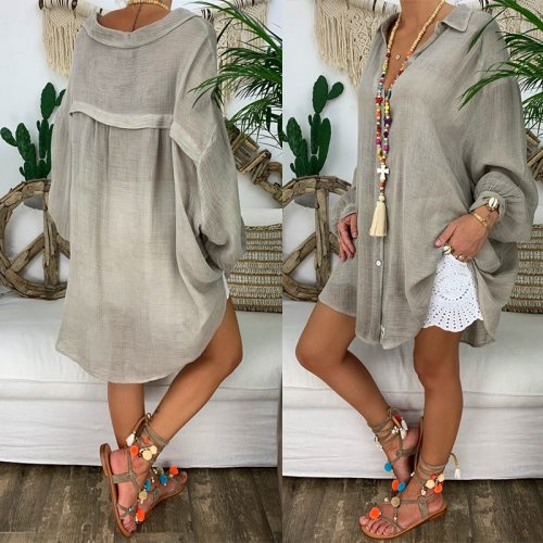 Long Sleeve Plus Size Linen Shirt Women White Button Down Shirt Loose Casual Cotton Blouse Womens Tops and Blouses Shirts