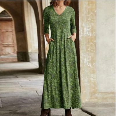 Spring Long Sleeve Maxi Dress Floral Print V-neck 2021 Fashion Bohemian Slim Dresses for Women Casual Elegant Women's Clothing