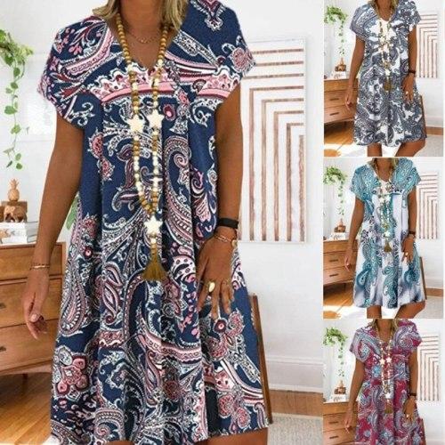 New Summer Women V-Neck Short Sleeve Loose Midi Dress Fashion Casual 5XL Plus Size Print Dress Female vintage Clothing Vestidos