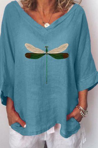 Women Blouse V-neck Casual Jumper Tops Dragonflies Pattern Ladies Shirt Top Blusa Spring Summer Feminina Clothing ropa mujer