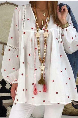 White Elegant Ruffles Lantern Sleeve Women's Blouse Boho Star Printed Tops Female Blusa Spring Summer Lady Blouses Plus Size 4XL