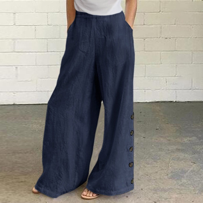 New Ladies Retro Loose Mid-Waist Cotton And Linen Trousers Wide-Leg Pants Casual Pants