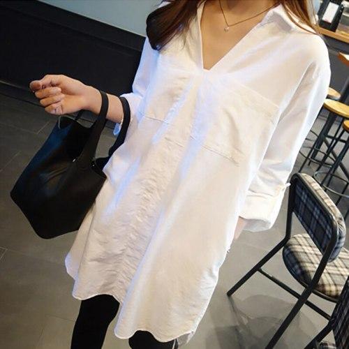 Women White Shirt Spring Autumn Long Sleeve Loose Casual Blouse Tops Turn-Down Collar Blouses Solid Color Harajuku Long Shirts