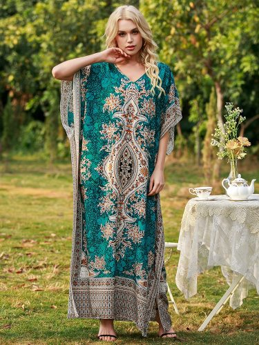 Indie Folk Floral Maxi Dress For Women Cotton Summer 2021 Batwing Sleeve Loose Plus Size Beach Holiday Casual Clothes