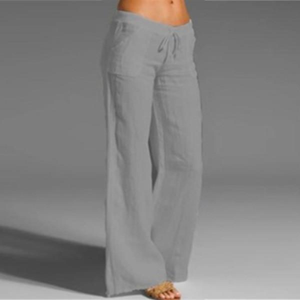 Cotton-Blend Pockets Solid Pants
