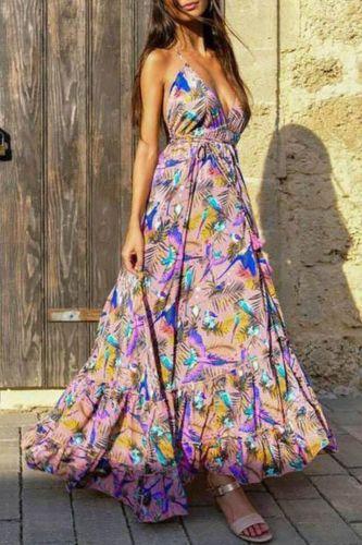 2021 New Arrival Fashion Design Dress Print Spaghetti Strap Backless Summer Bohemian Beach Maxi Dress Vestidos