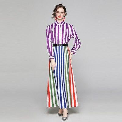 2021 New Summer Fashion Designer Woman Shirt Dress Vintage Multi Stripe Print Robe Femme Beach Ladies Elegant Party Maxi Dresses