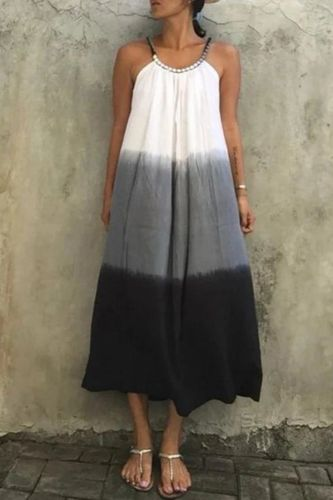Tie-dye Suspender Dress Women Summer Fashion Loose A-LINE Halter Beading Mid-Calf Dresses for Women