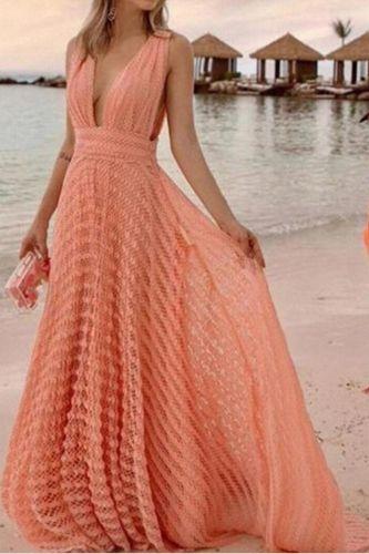 Orange Deep V-Neck Maxi Dress Women Elegant Backless Sexy Autumn Dresses Women Party Dress  Fit and Flare Vestidos Femme 2021