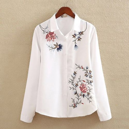 Cotton Plus size Feather Embroidery White Long Blouse Women Long Sleeve Art Loose Ladies Office Work Tops Button Down Shirts