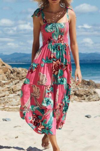 Woman Fashion Print Casual Boho Style Beach Vacation Sundress  Ladies Summer Midi Maxy Dresses Sexy Back Spaghetti Strap Dress