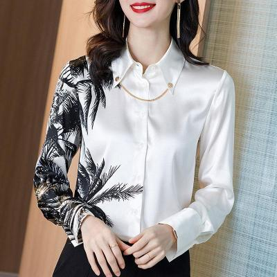 Long Sleeve White Ink Print Blouse Women White Patchwork Office Lady Casual Tops 2020 Summer Autumn New Fashion Shirt Loose Tops