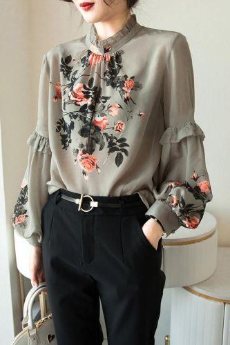 Temperament Lantern Sleeve Casual Blouses Shirts Lady Half High Collar Print Blusas Tops Loose Long Sleeve DM0039
