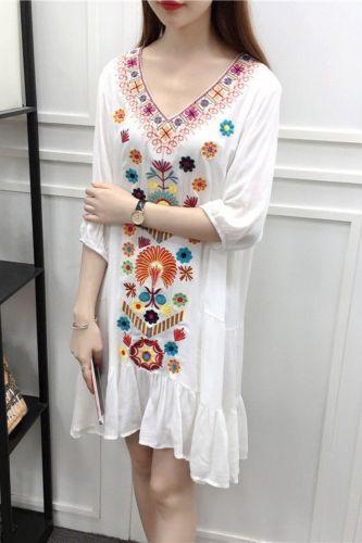 New folk style cotton women's V-neck cotton dress embroidered Bohemian seaside travel dresses Vestidos Plus Size Boho Dress