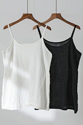 Women Cotton Linen Camis Solid Color 2021 Summer New Sleeveless Vintage 8 Color Women Cloths Soft Camis