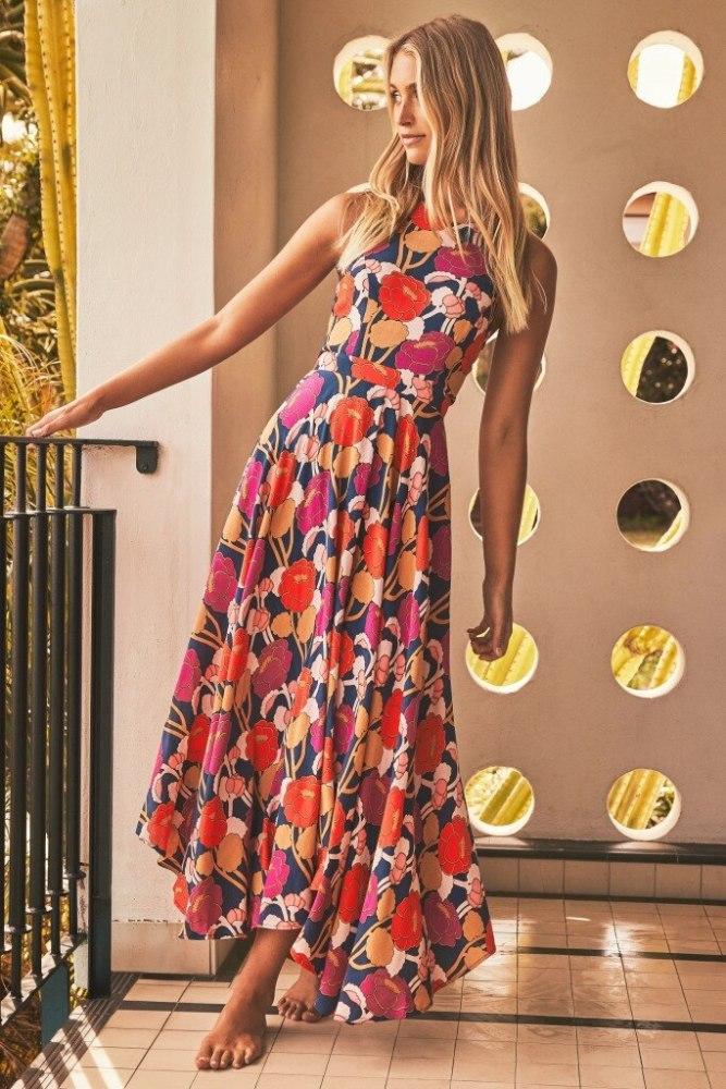 Printed Maxi Dresses 2021 Bohemian Sexy Sleeveless Sundress Women Causal Halter Summer Beach Dress Asymmetric Long Dresses