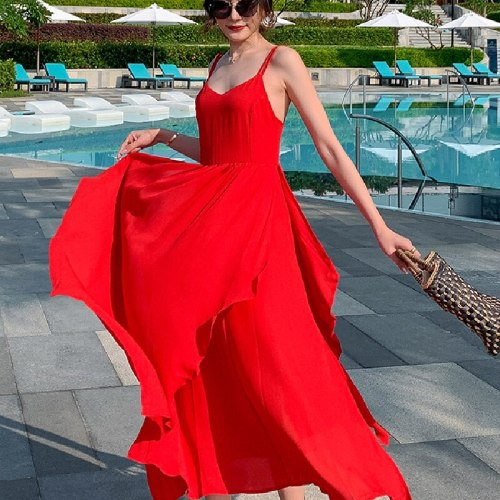 Korean Fairy Casual Beach Vacation Party Vestidos Women Long Backless Slip Dress Summer 2021 Runway Maxi Vintage Ruffle Sundress
