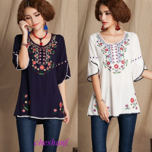 2021 Vintage 70s Mexican Floral Embroidery Boho Women Hippie Blouse Women Tunic Soft Cotton Summer Shirts Tops Blusa Mujer