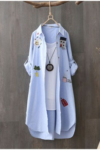 Korean Trend Female Cotton Shirt Embroidery Literary Graffiti Blouse Long Sleeve Loose Tops Y2k Summer Women  Clothing 2021 AB18