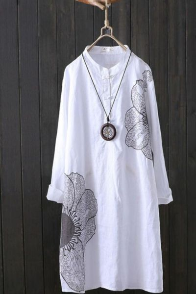 Cotton Linen Embroidery Women Long White Shirts Summer Vintage 2021 Loose Casual Female Outwear Coats Tops
