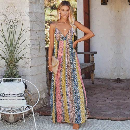 2021 New Casual Long Women Print Dress Boho Female V-neck Dress Summer Spaghetti Strap Ladies Beach Dress Vestidos