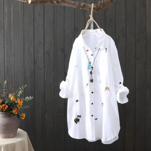 White Shirt Women Plus size Clothing 4XL 5XL Long sleeve 100% Cotton Blouse Embroidery Ladies Tops Casual Button Up Shirts