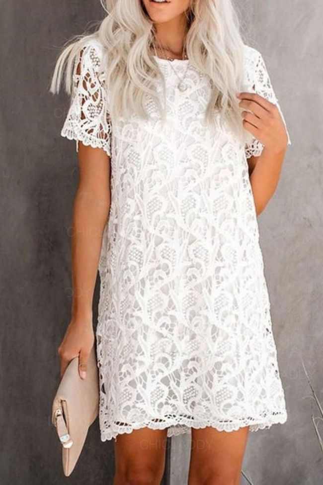 Women Sexy Lace Hollow Out White Dresses 2021 Summer Casual O-Neck Short Sleeve Solid Streetwear Party Midi Dress Vestidos Mujer