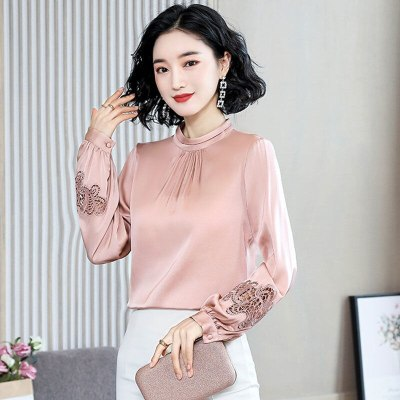 Long Sleeve Solid Silk Blouses Lantern Sleeve For Women Office Lady Casual Tops 2020 Spring New Fashion Shirts Lace Patchwork