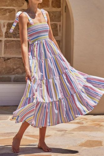 Summer Women Bow Camisole Dress 2021 Striped Printed Dresses Lady Party Vestido Elegant Girl Sleeveless A-line Causal Outfits