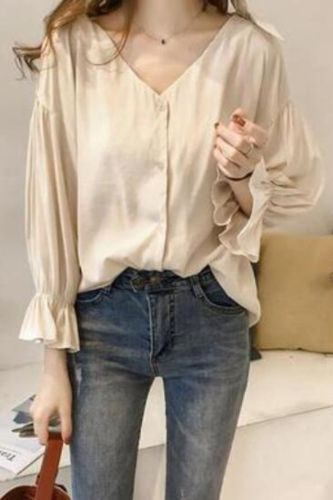 Lady Women Shirt Stylish V-Neck Strapless Blouse Bowknot Flare Sleeve Solid Color Long Sleeve Loose Shirt Female Tops